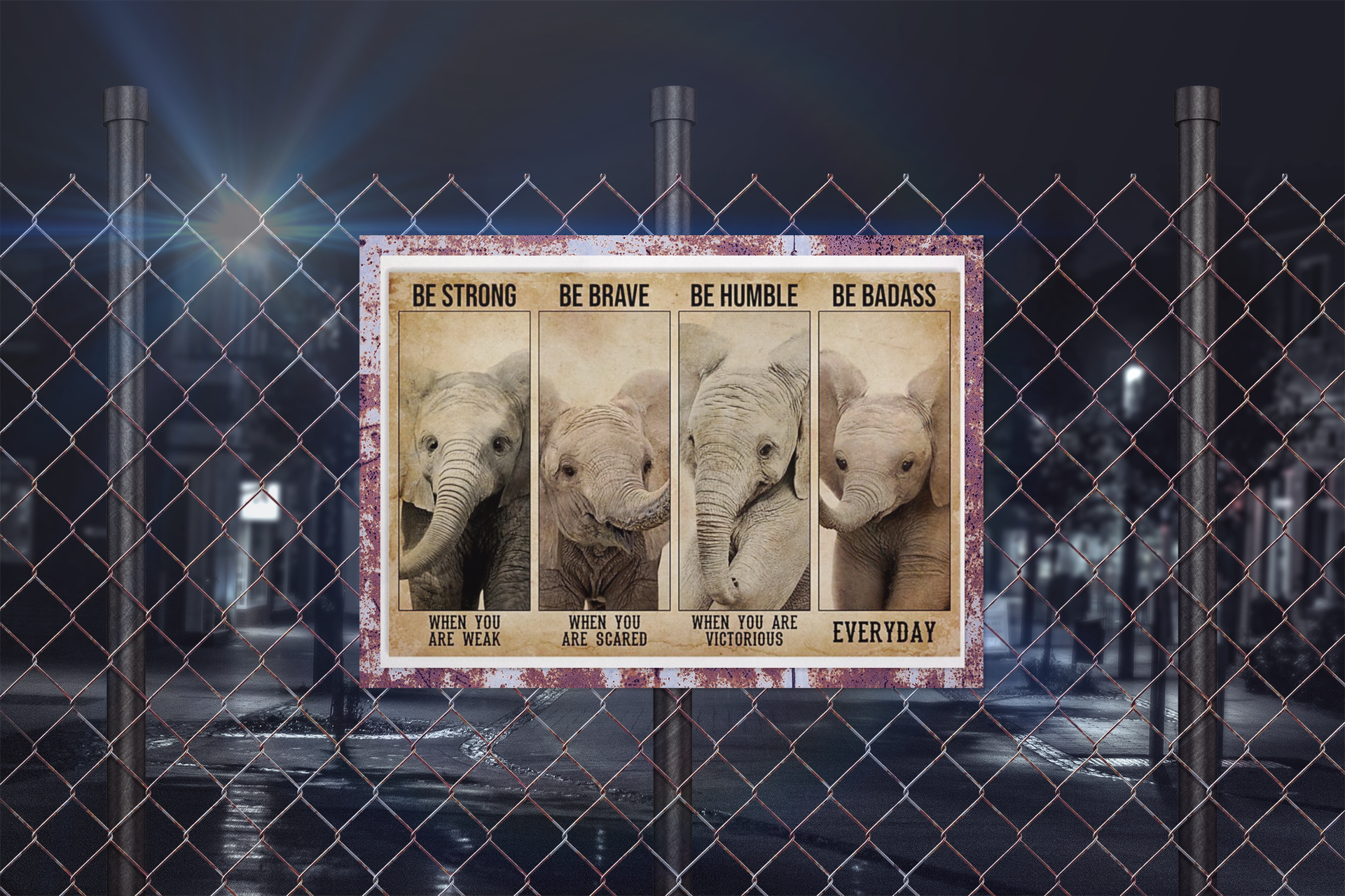 Poster Elephant be strong be brave badass humble poster