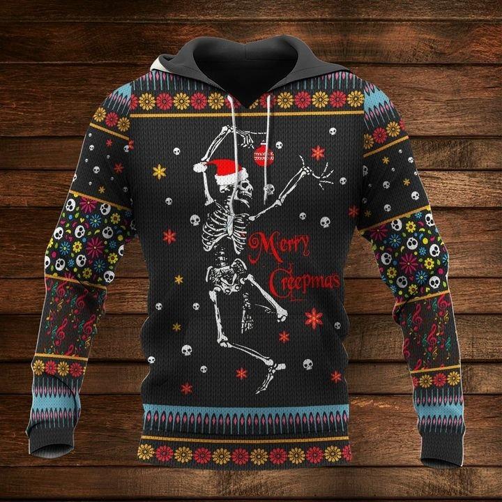 Skull skeleton merry crepmas christmas sweater and 3d hoodie