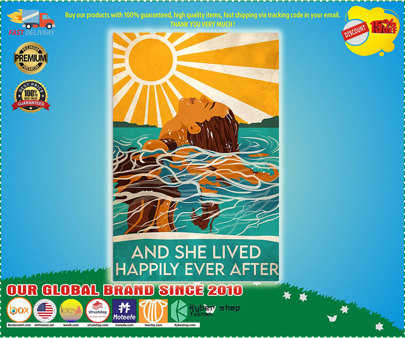 Swimming and she lived happily ever after poster  - LIMITED EDITION