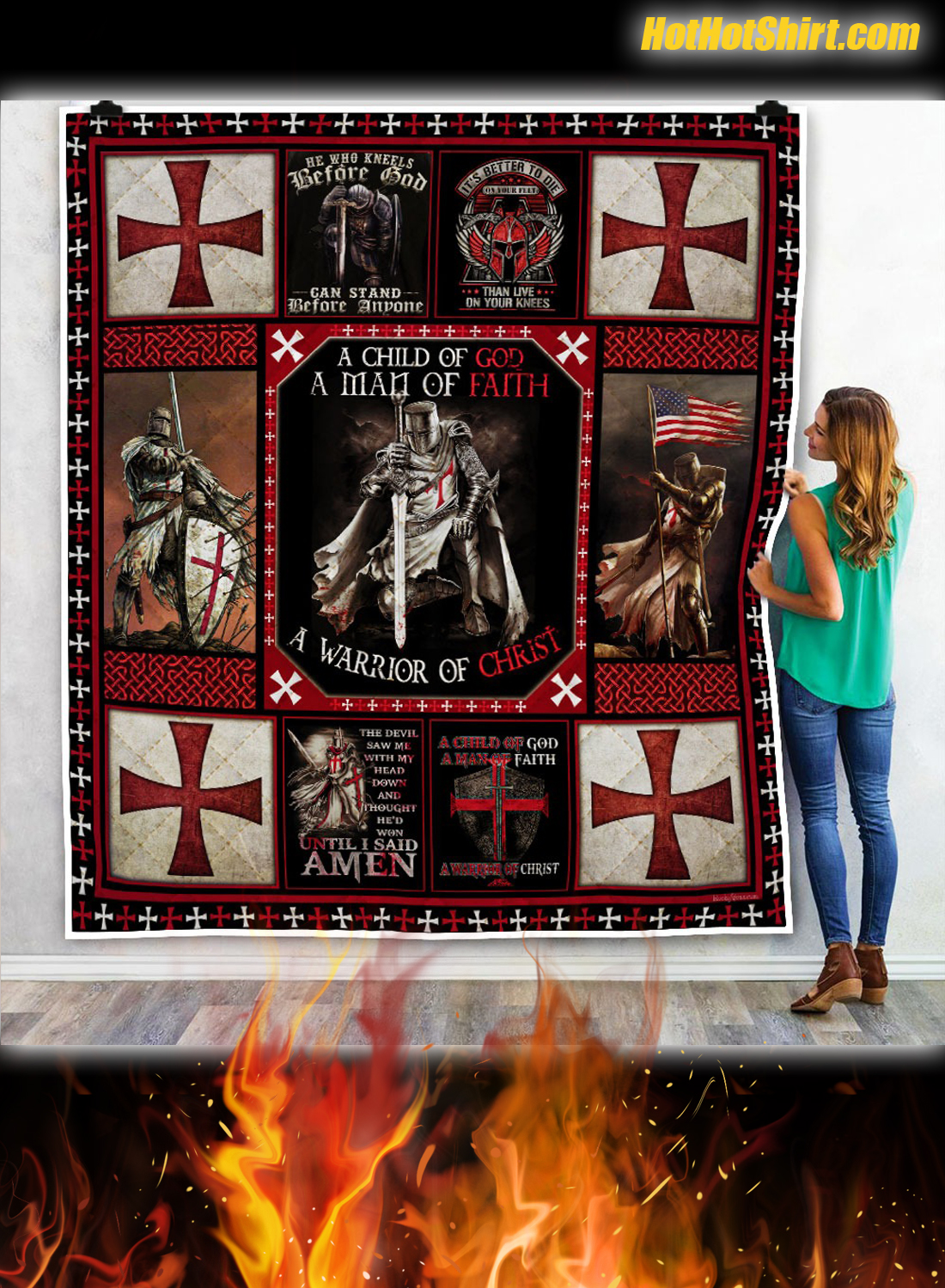 The Knights Templar Christian Warrior Quilt Blanket 1