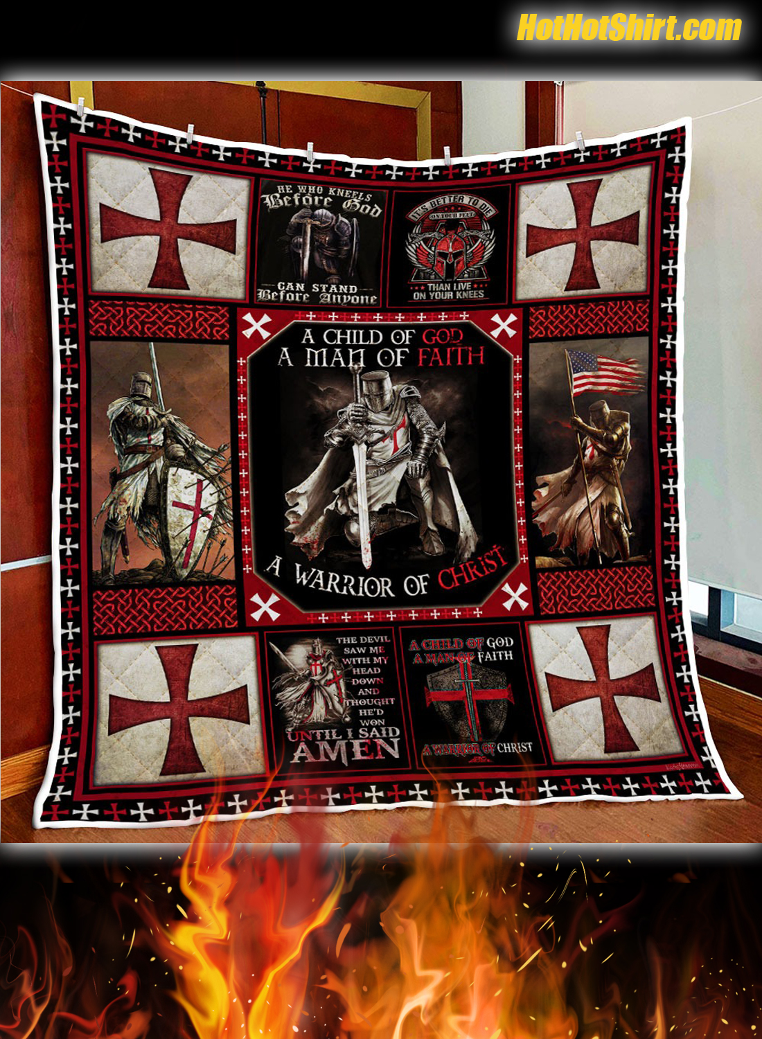 The Knights Templar Christian Warrior Quilt Blanket