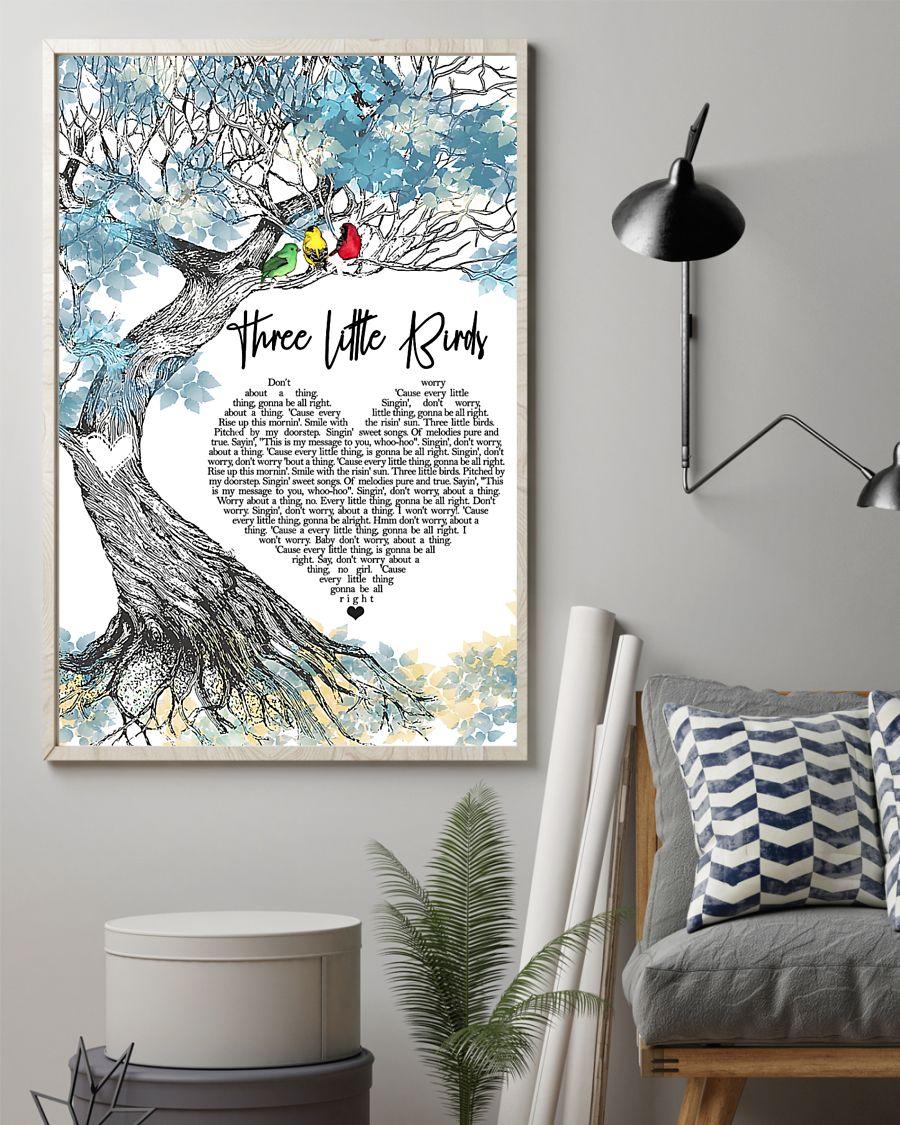 Three little bird lyrics poster