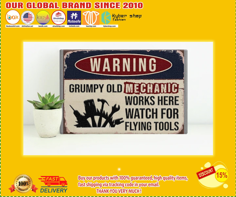 Warning grumpy old mechanic works here watch for flying tools poster - LIMITED EDITION BBS