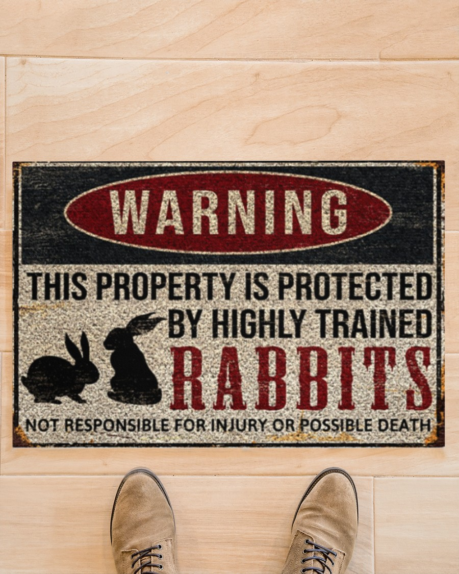 Warning this property is protected by highly trained rabbits doormat
