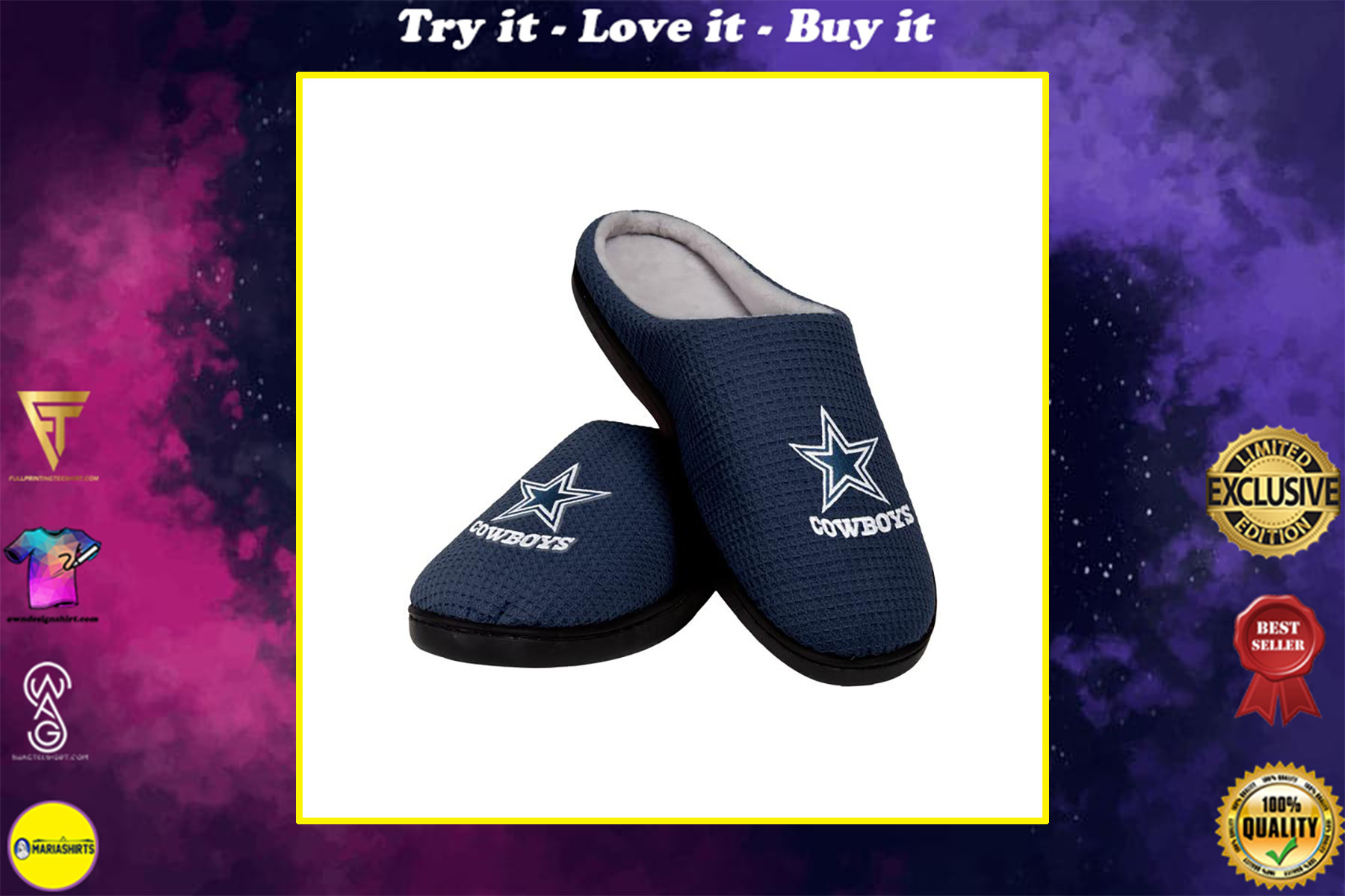 [special edition] dallas cowboys football team full over printed slippers - maria