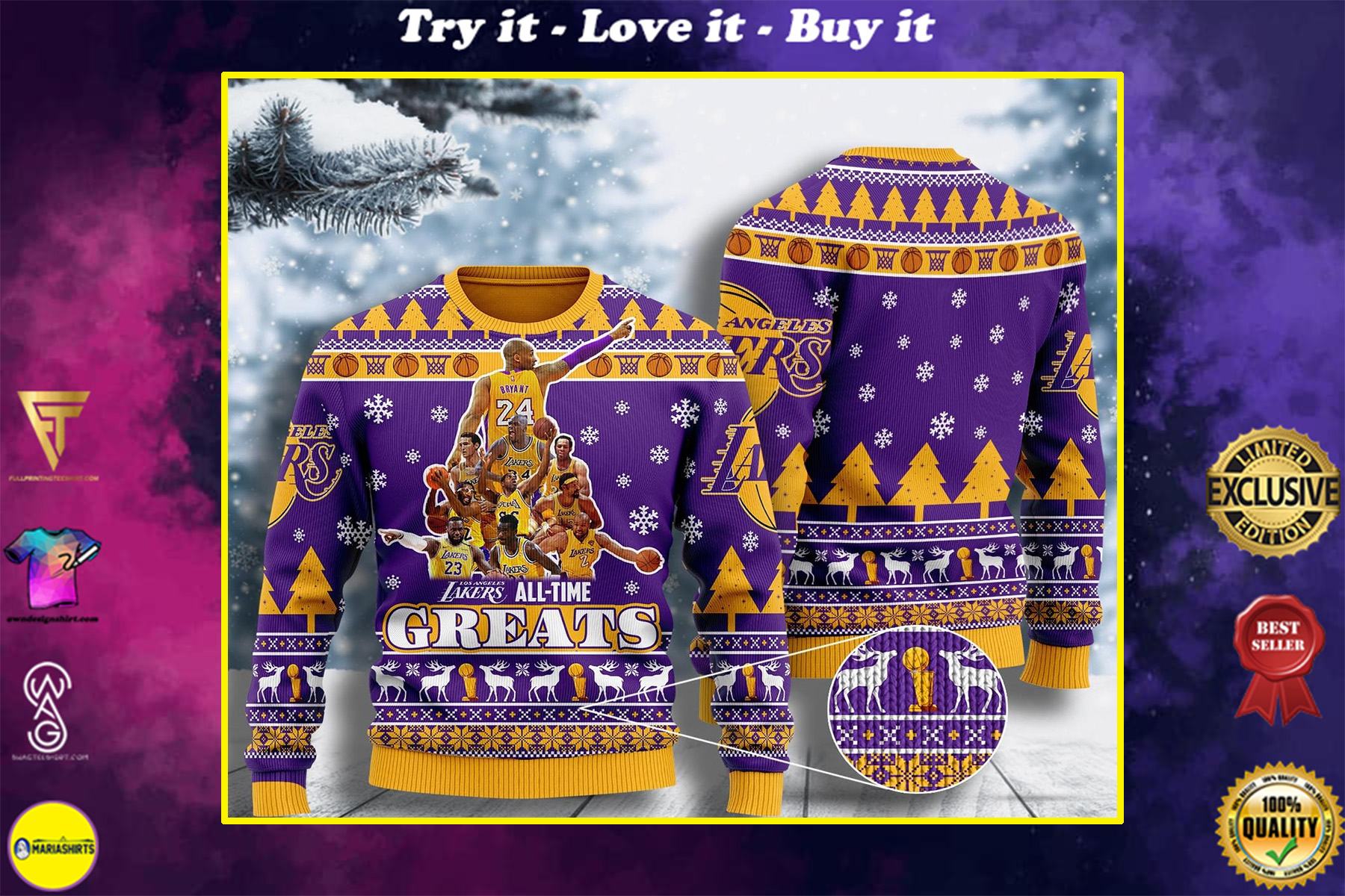 [special edition] los angeles lakers all-time greats ugly christmas sweater - maria
