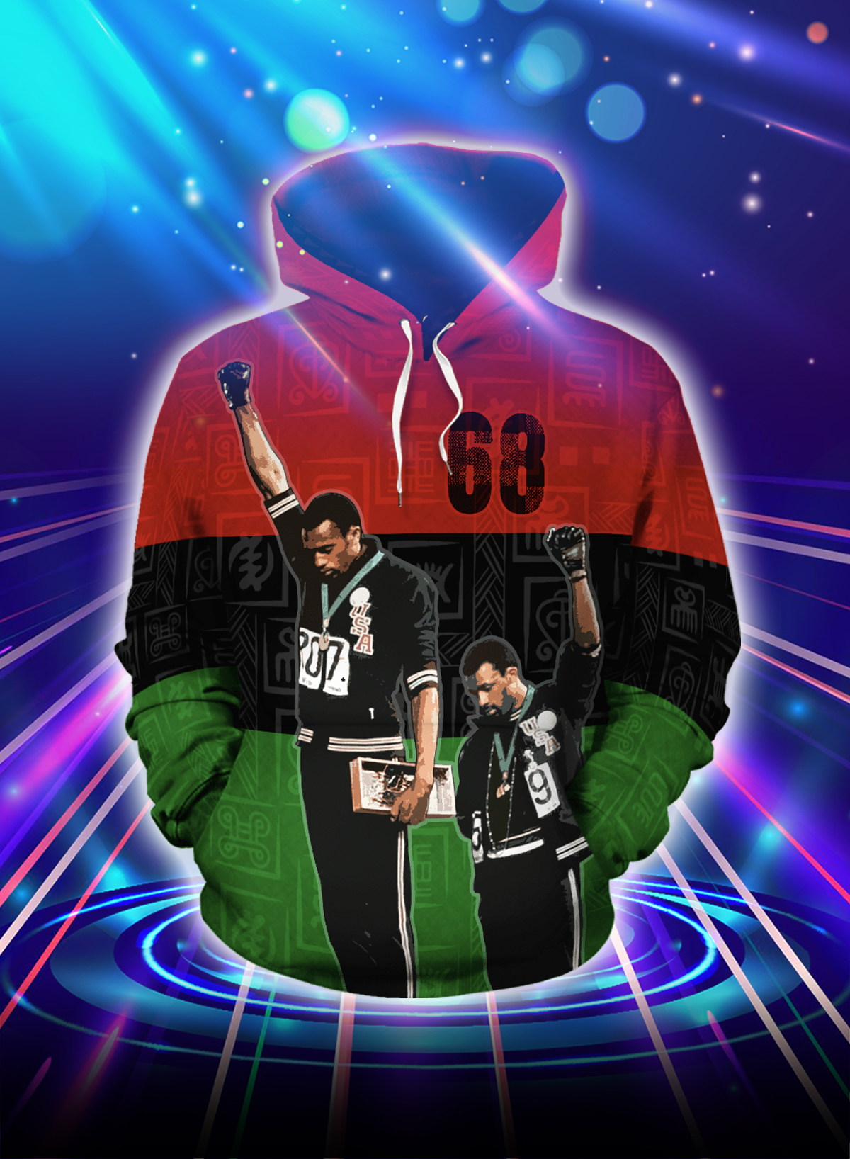 1968 olympics black power salute all over printed hoodie - Picture 1