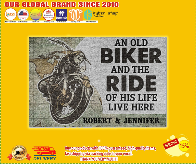 An old biker and the ride of his life live here doormat - LIMITED EDITION BBS