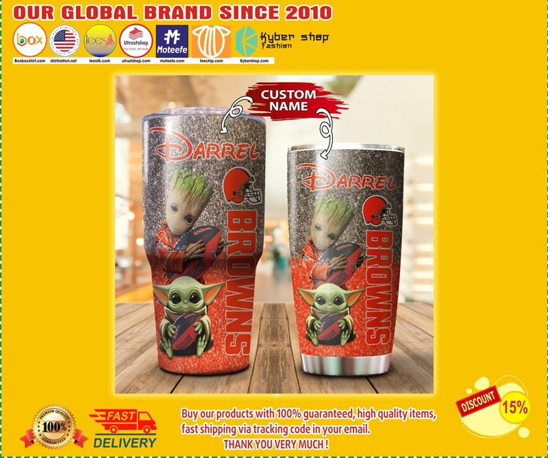 Baby Yoda and Groot Cleveland Browns Custom name Tumbler - LIMITED EDITION BBS