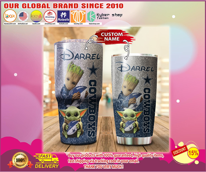 Baby Yoda and Groot Dallas Cowboys Custom name Tumblers - LIMITED EDITION BBS