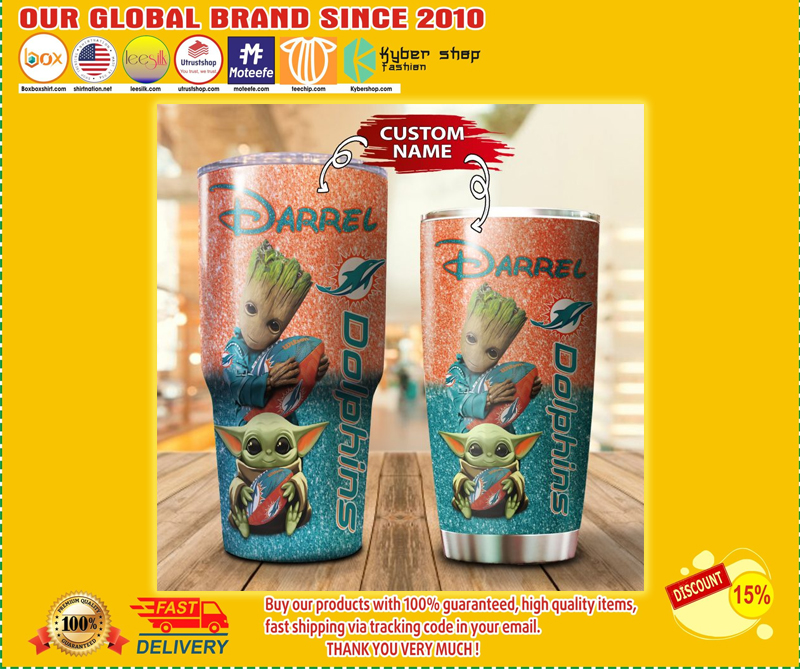 Baby Yoda and Groot Miami Dolphins Custom name Tumbler - LIMITED EDITION BBS