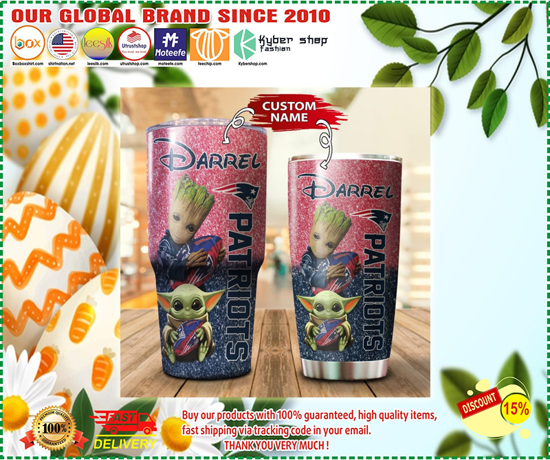 Baby Yoda and Groot New England Patriots Custom name Tumbler - LIMITED EDITION BBS