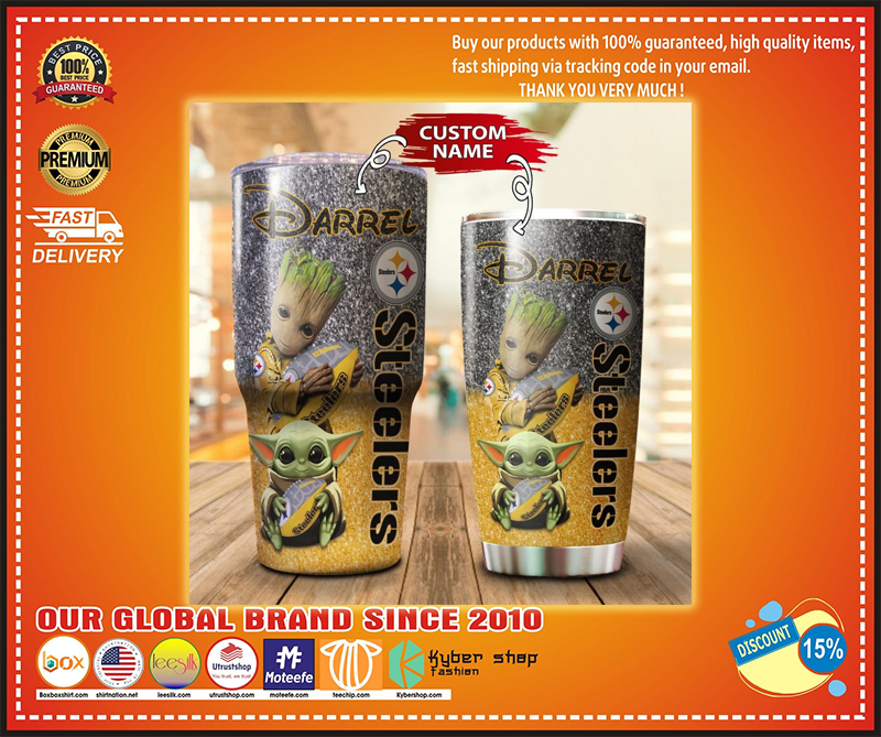 Baby Yoda and Groot Pittsburgh Steelers Custom name Tumbler - LIMITED EDITION BBS