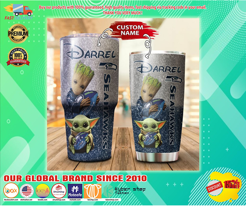 Baby Yoda and Groot Seattle Seahawks Custom name Tumbler - LIMITED EDITION BBS
