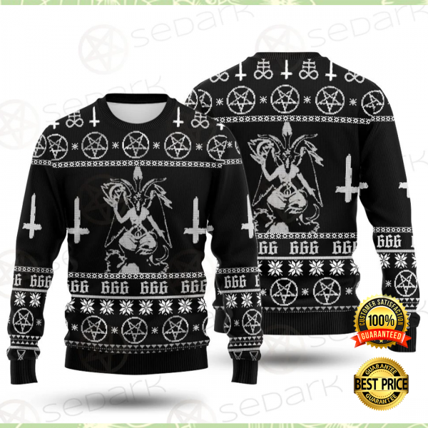 Baphomet cross inverted ugly sweater