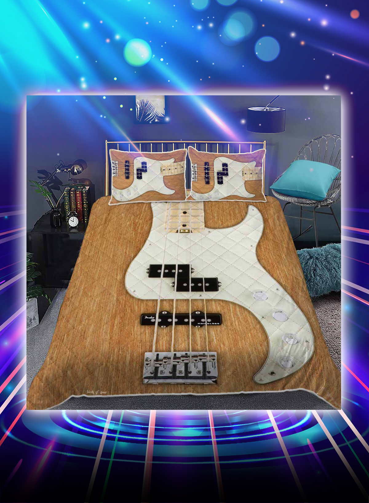 Bass guitar for the love of bass bed set