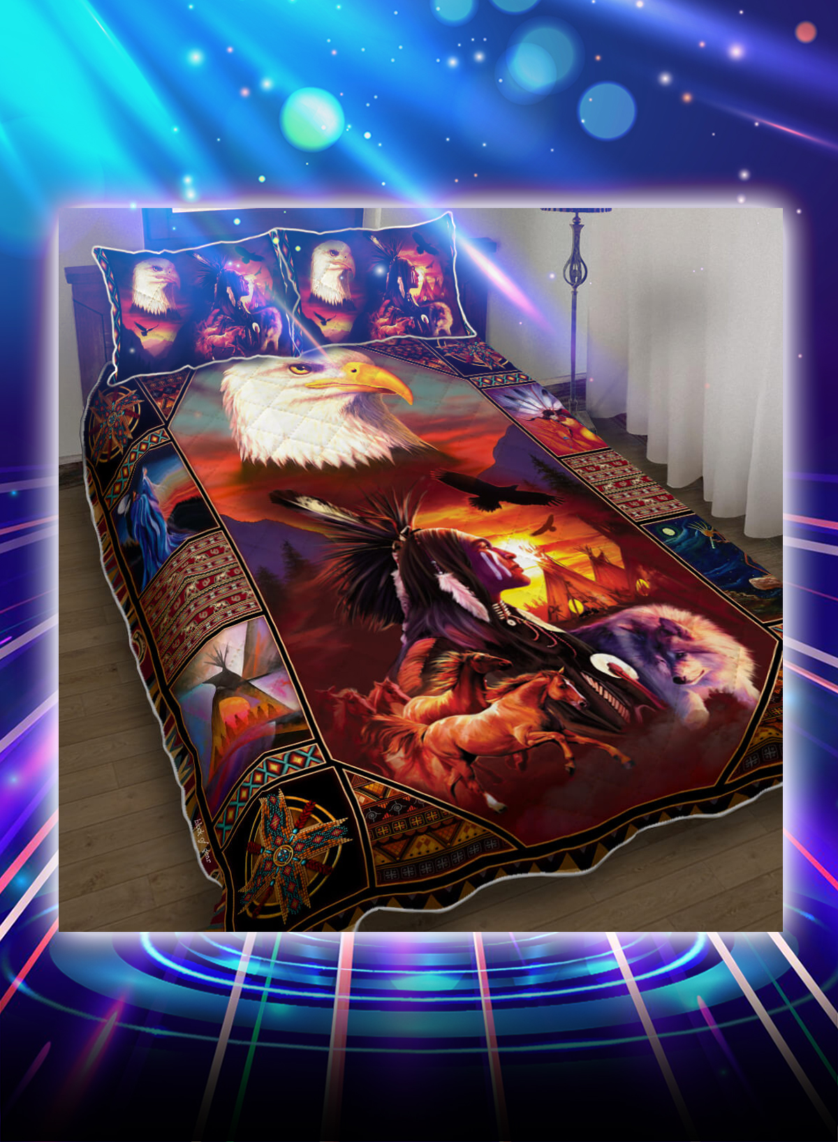 Beautiful Eagles native american inspired bed set - Picture 1