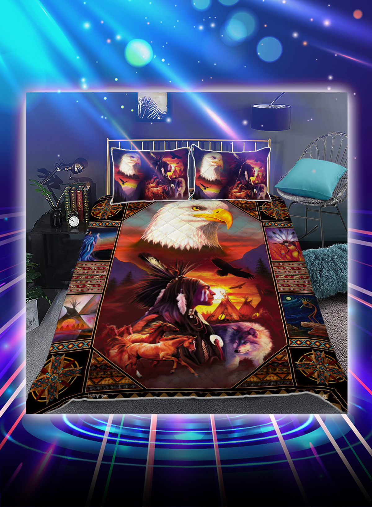 Beautiful Eagles native american inspired bed set