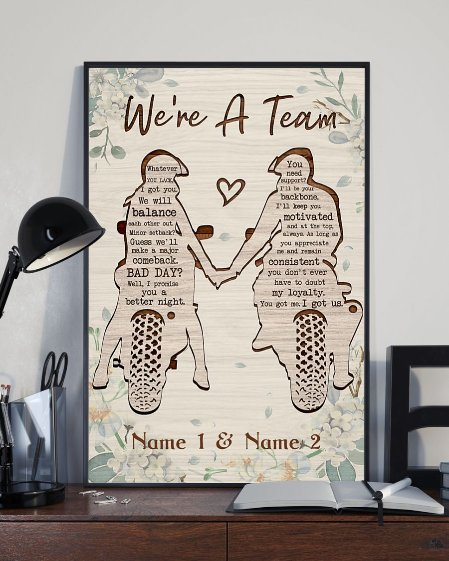 Biker we're a team custom personalized name poster