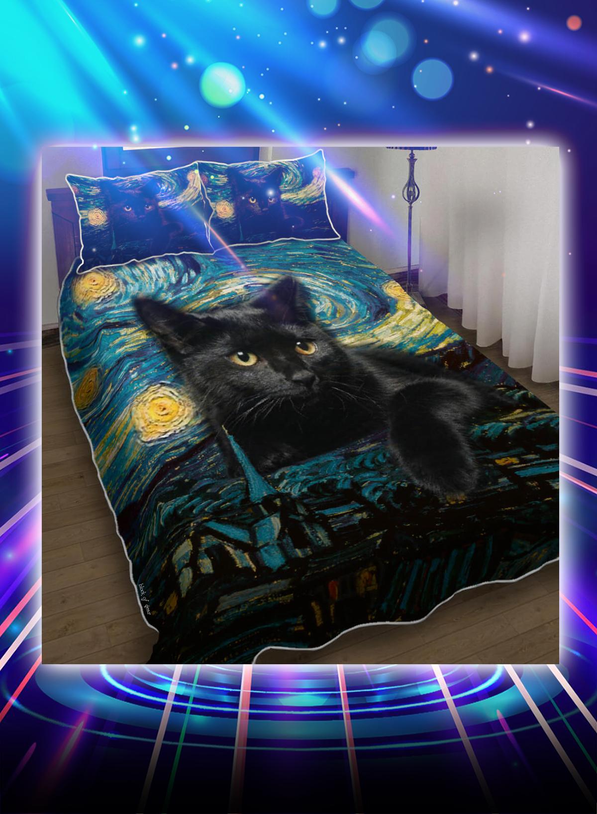 Black cat starry night bedding set - Picture 1