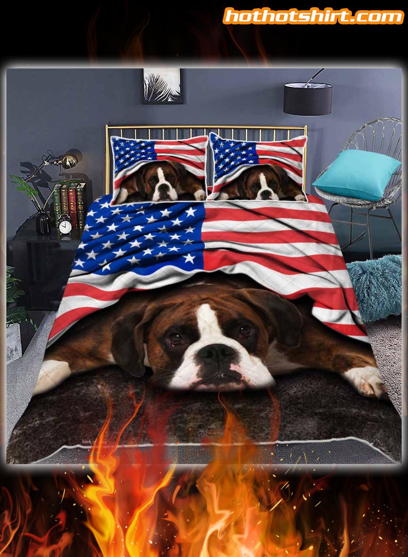 Boxer Dog American Flag Bedding Set