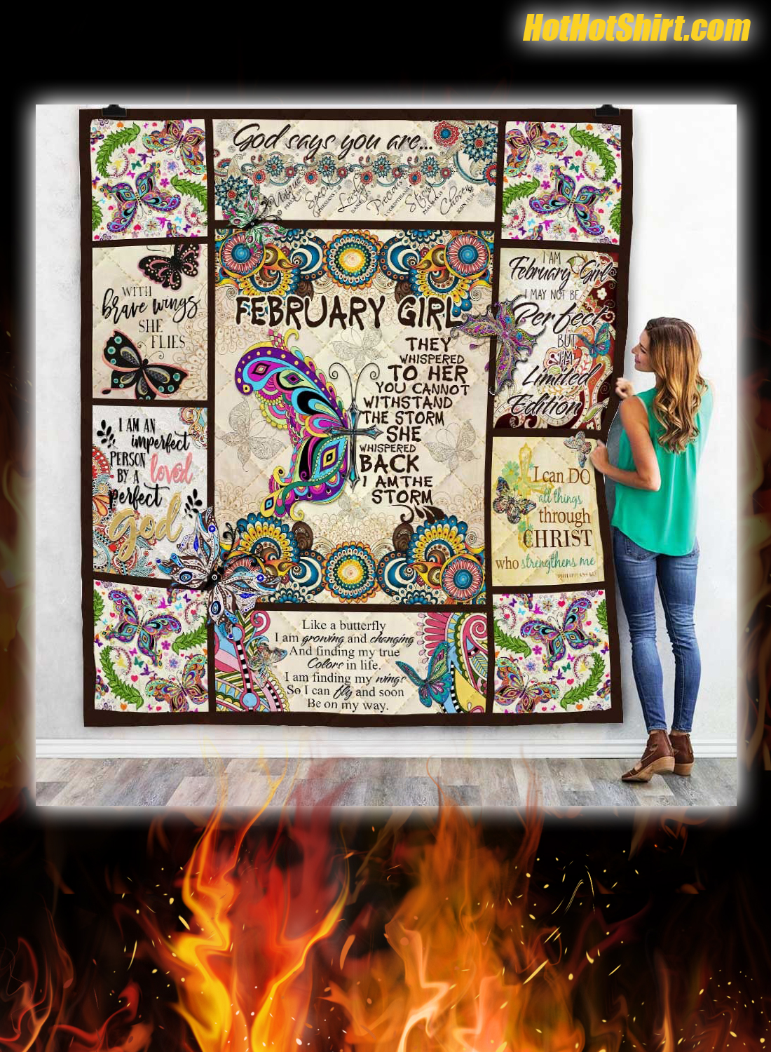 Butterfly February Girl I Am The Storm Quilt Blanket
