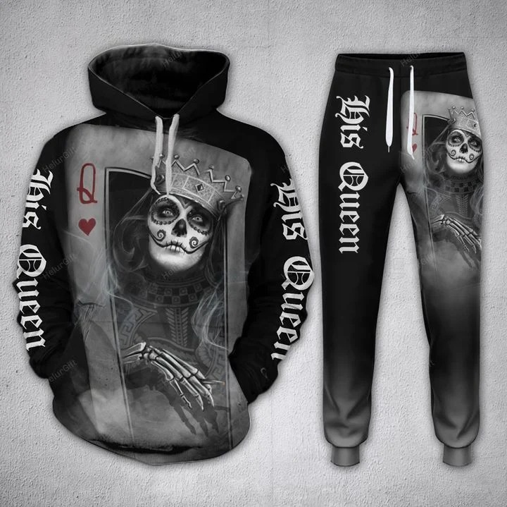 Couple Skull His Queen Her King Card 3D Hoodie and sweatpants 2