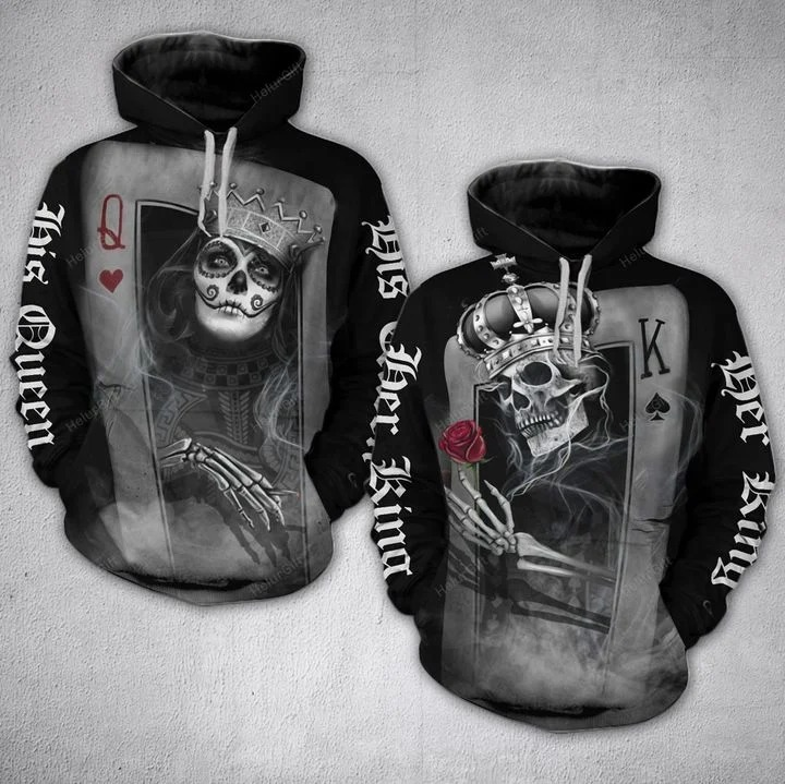 Couple Skull His Queen Her King Card 3D Hoodie and sweatpants 4