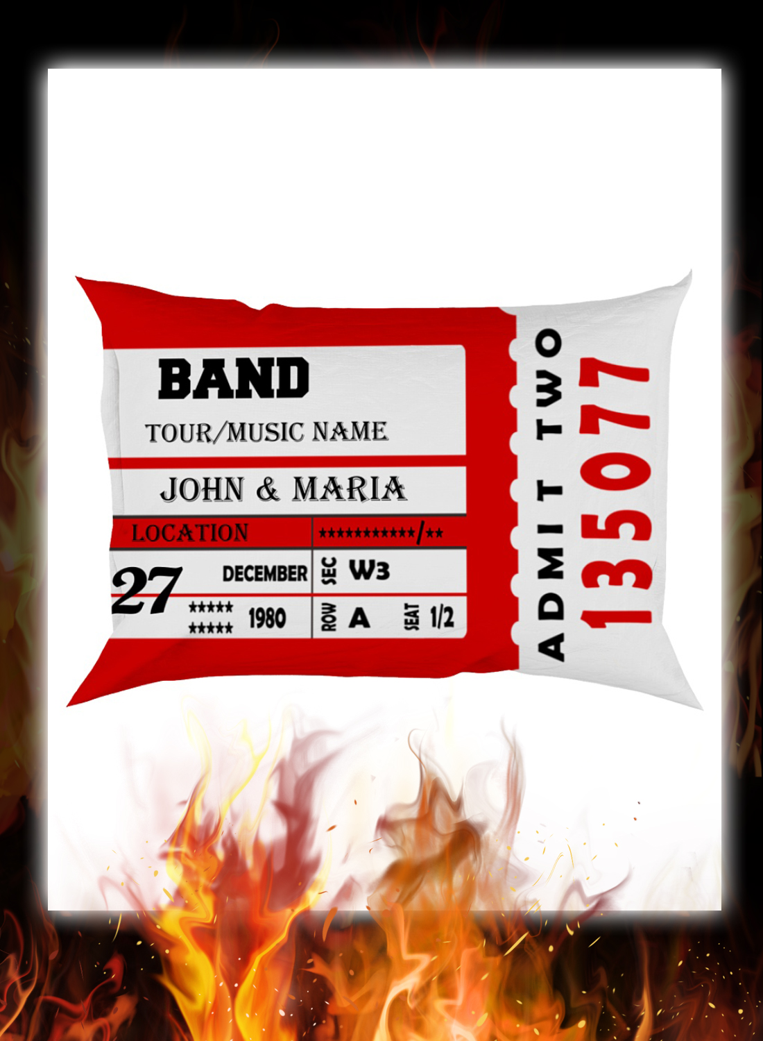 Custommize Music Concert Ticket Pillowcase