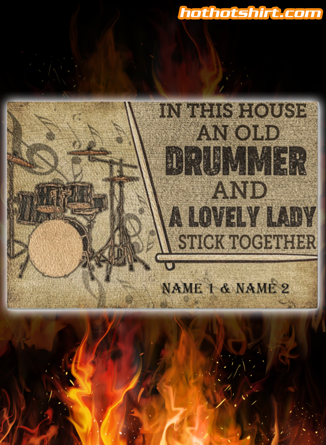 Drummer and a lovely lady stick together personalized doormat