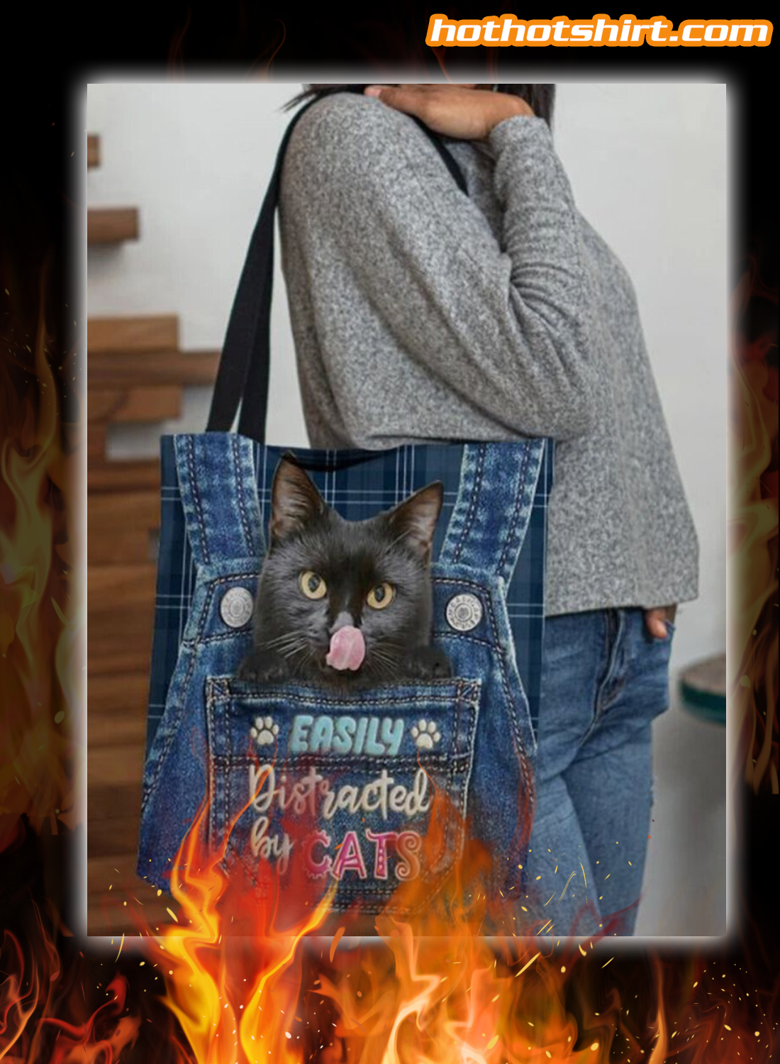 Easily distracted by cats tote bag