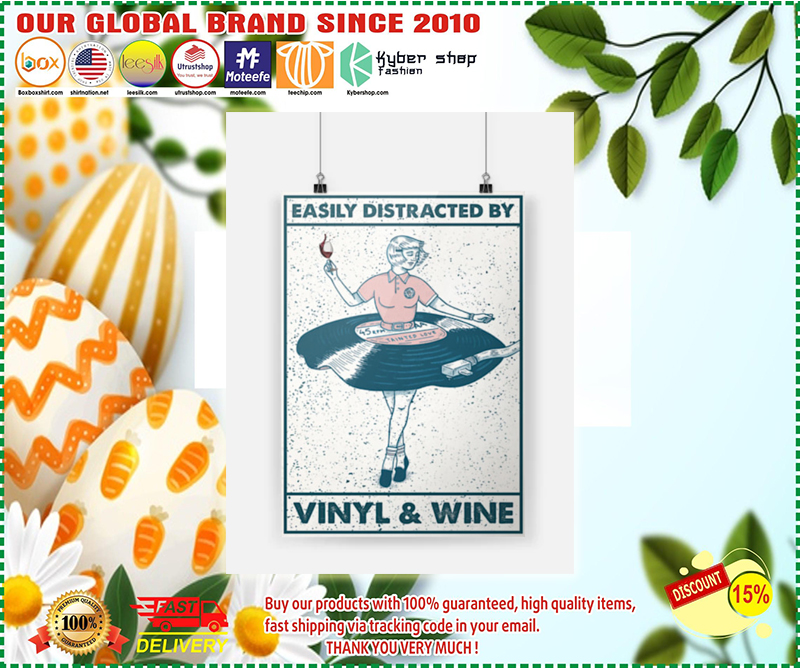 Easily distracted by vinyl and wine poster - LIMITED EDITION BBS