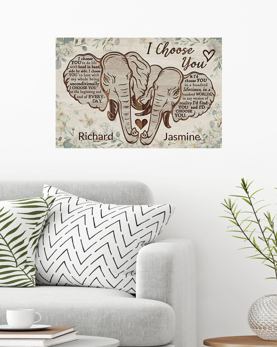 Elephant I choose you custom personalized name poster