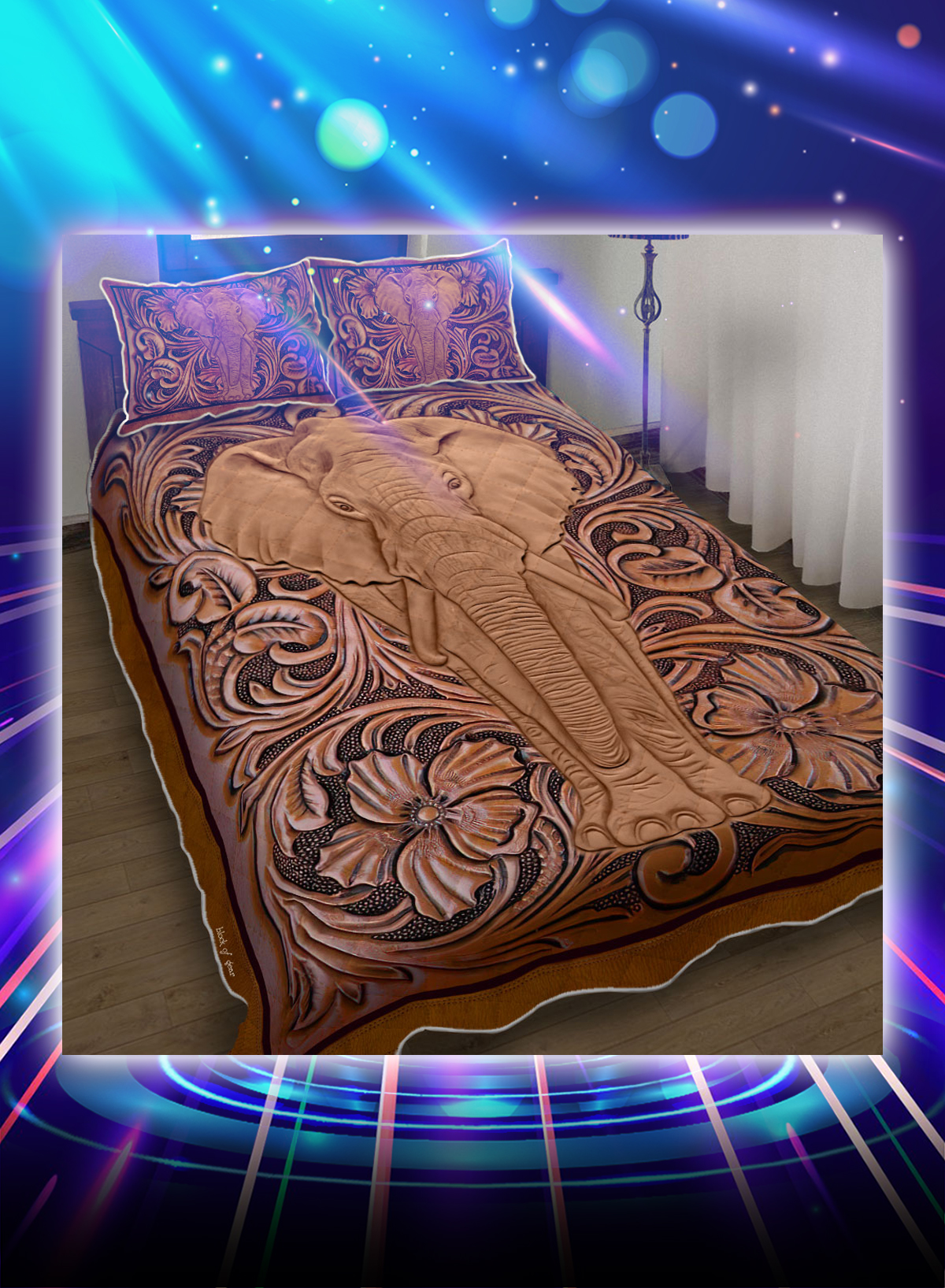 Elephant wood sculpture bed set - Picture 1