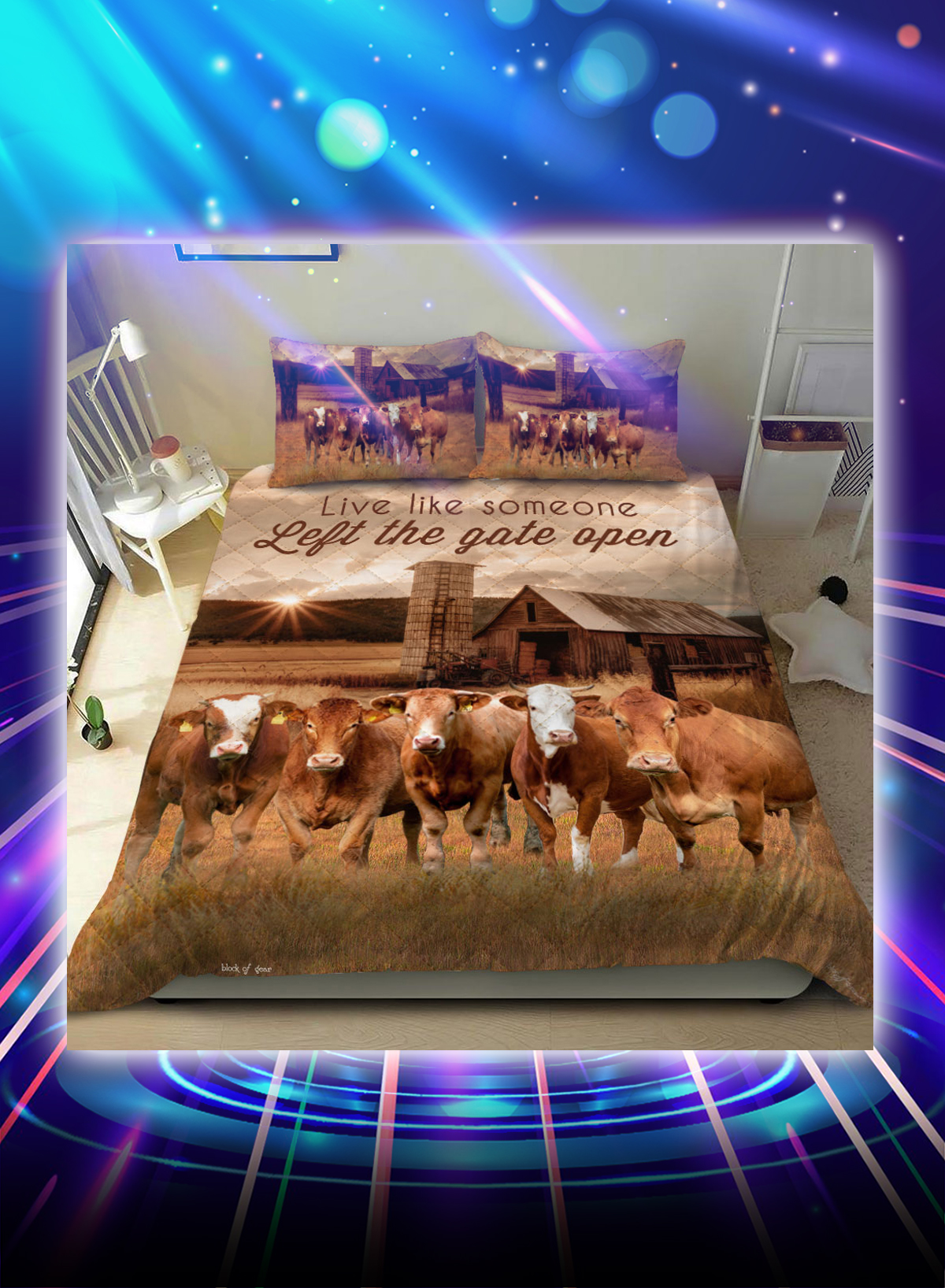 Farmhouse cattle live like someone left the gate open bed set