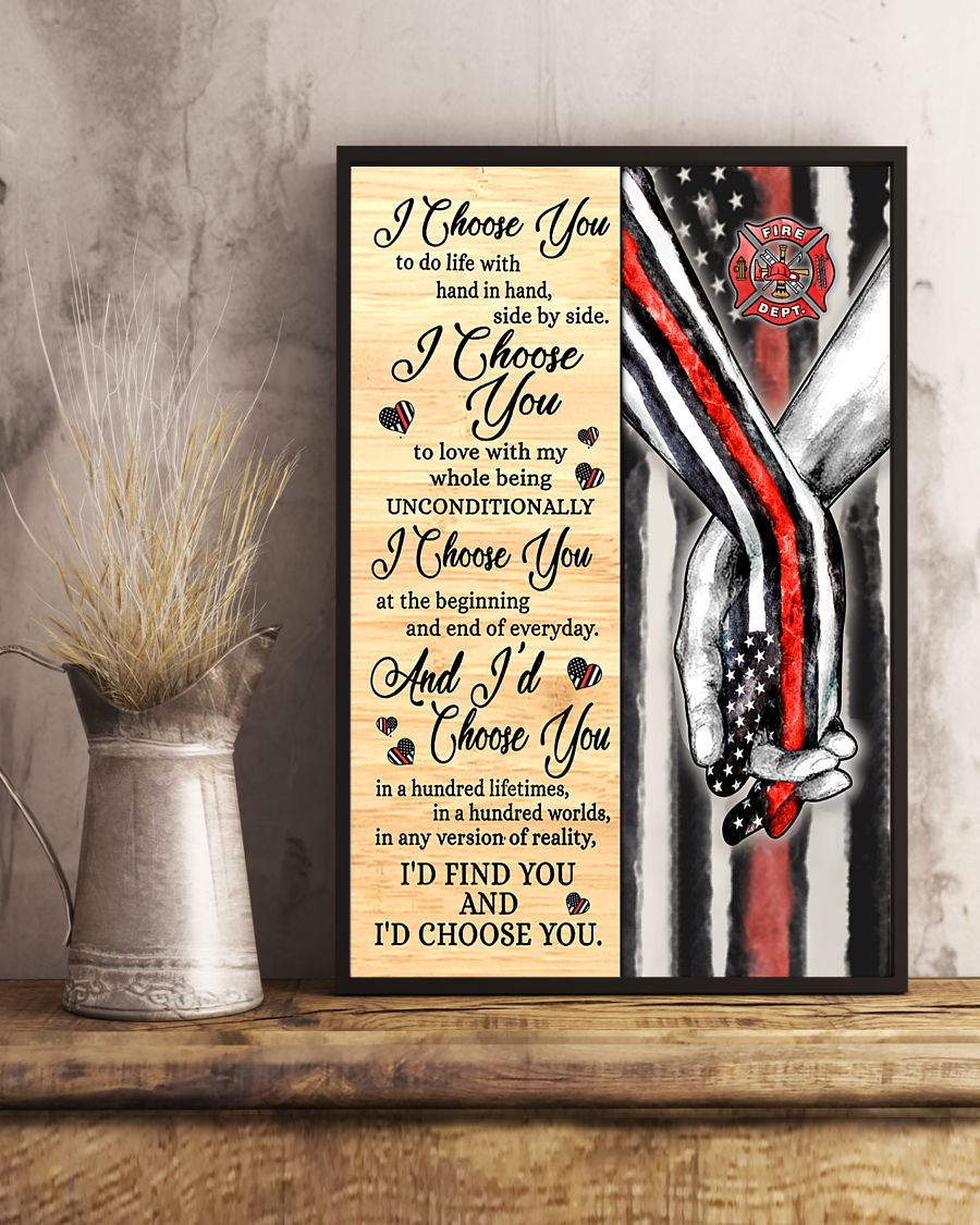 Firefighter I choose you to do with hand in hand side by side poster