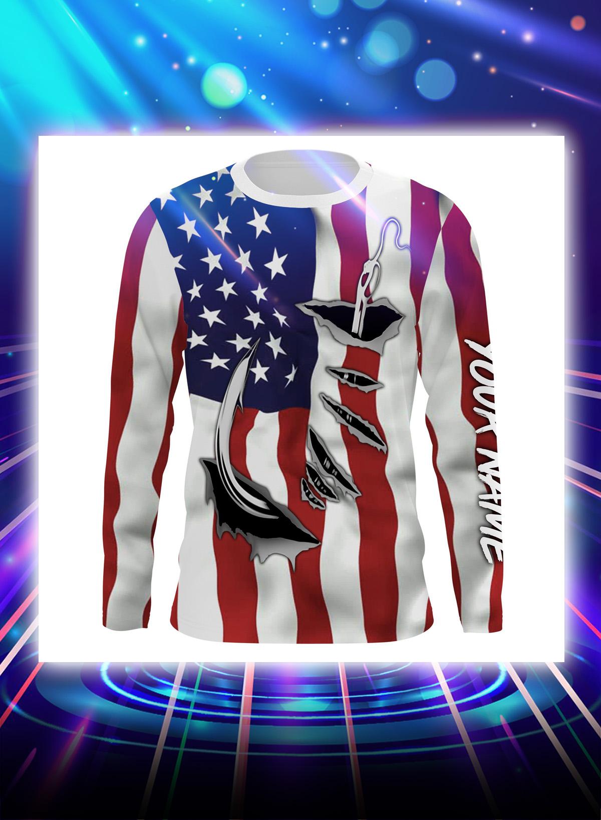 Fishing 3d fish hook american flag personalized customize name long sleeve shirt, sweatshirt
