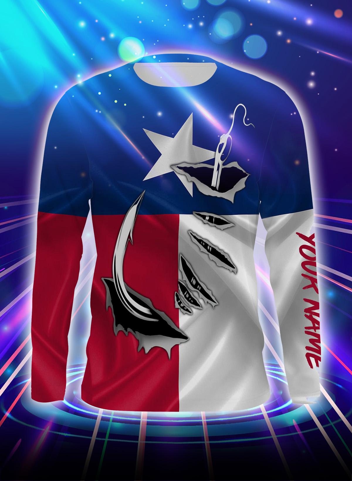 Fishing 3d fish hook texas flag personalized customize name long sleeve shirt, sweatshirt