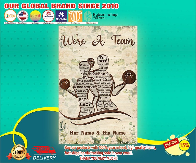 Fitness We're a team custom personalized name poster