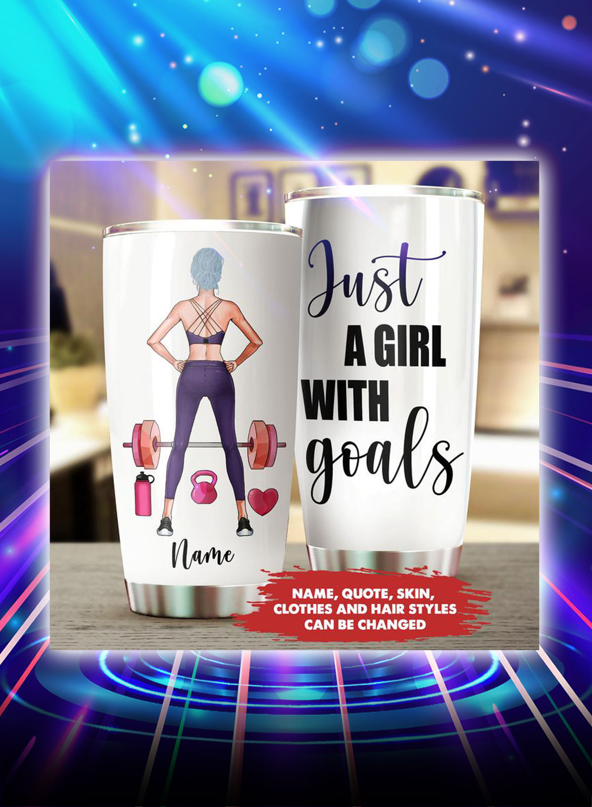 Fitness just a girl with goals personalized customize name tumbler