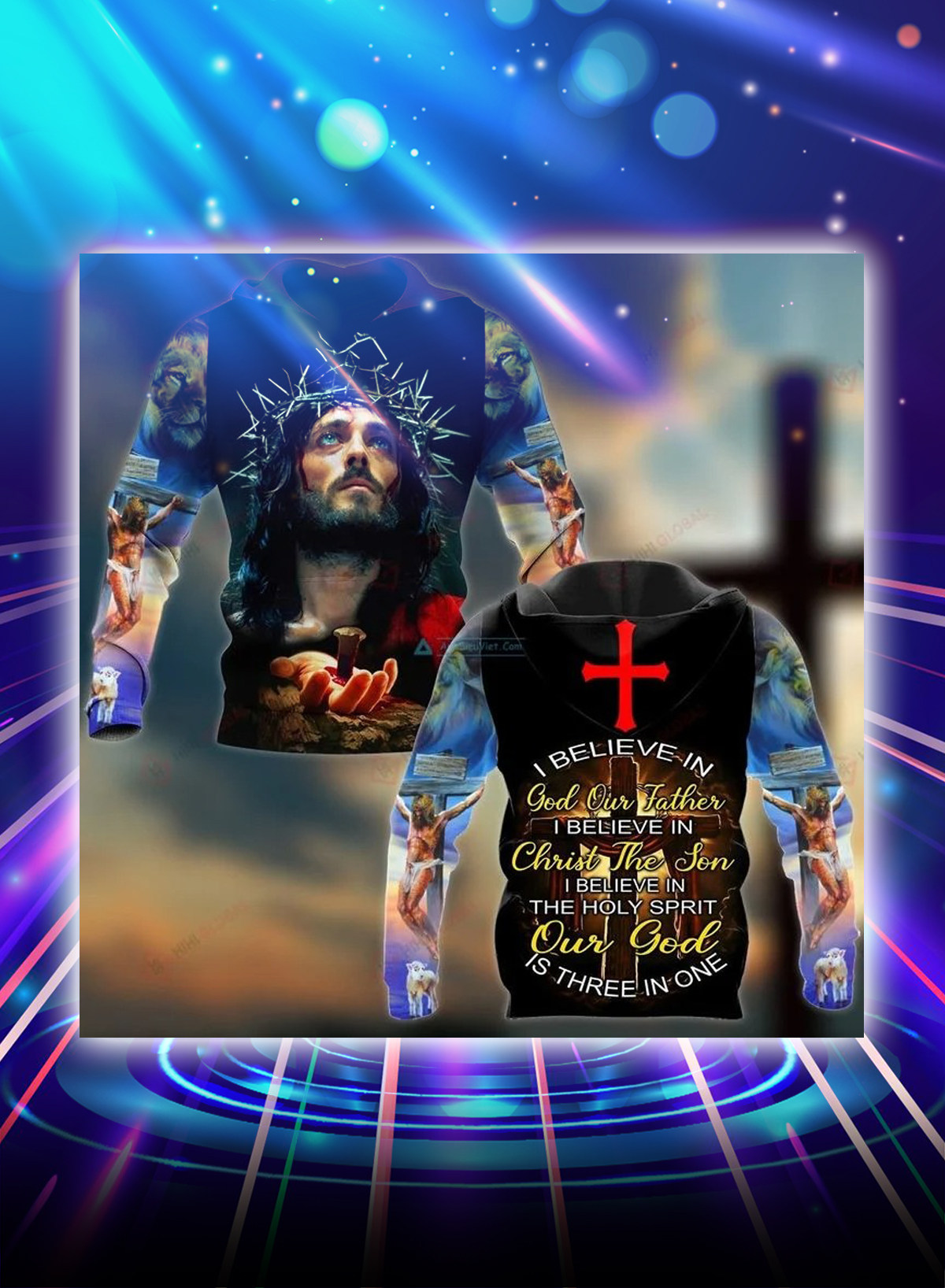I believe in god all over printed hoodie