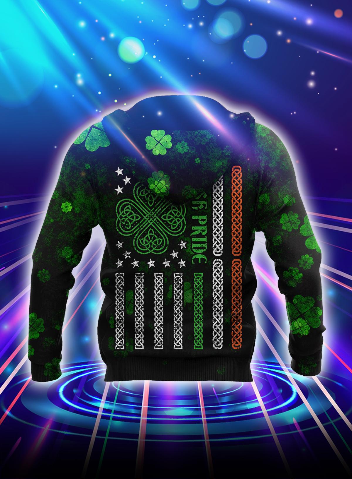 Irish St Patrick day 3d hoodie - Back
