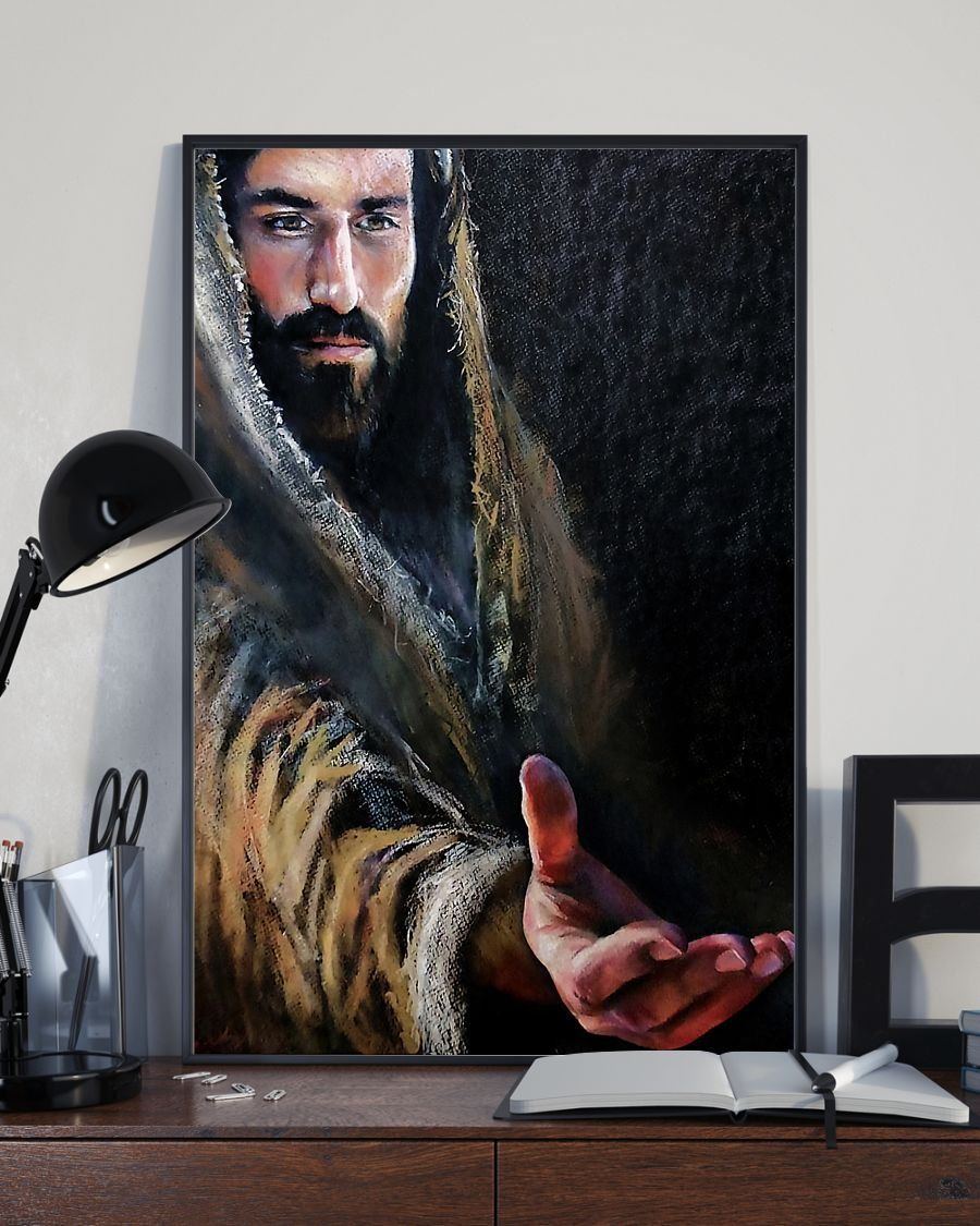 Jesus praying to his father poster