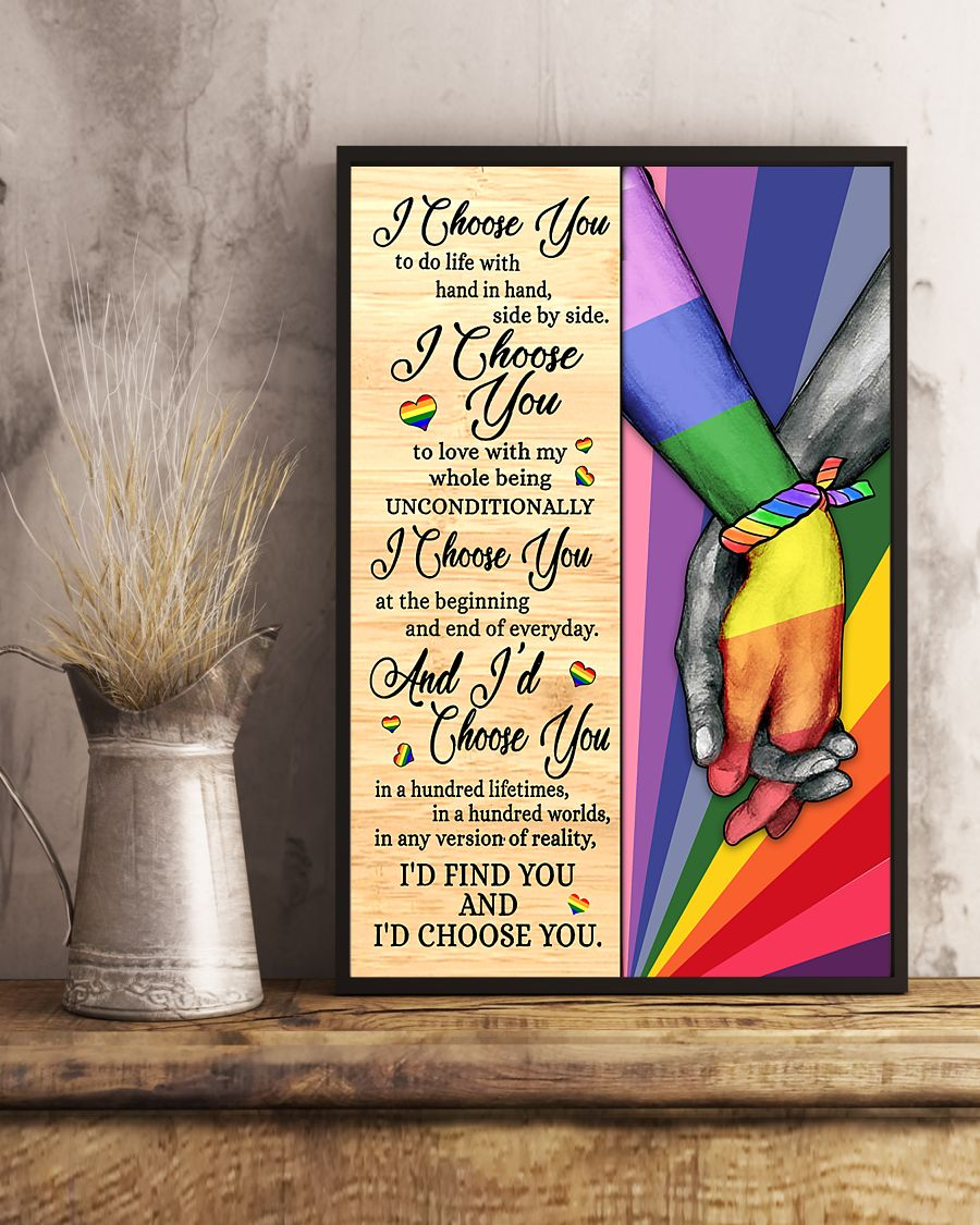 LGBT I choose you to do life with hand in hand poster