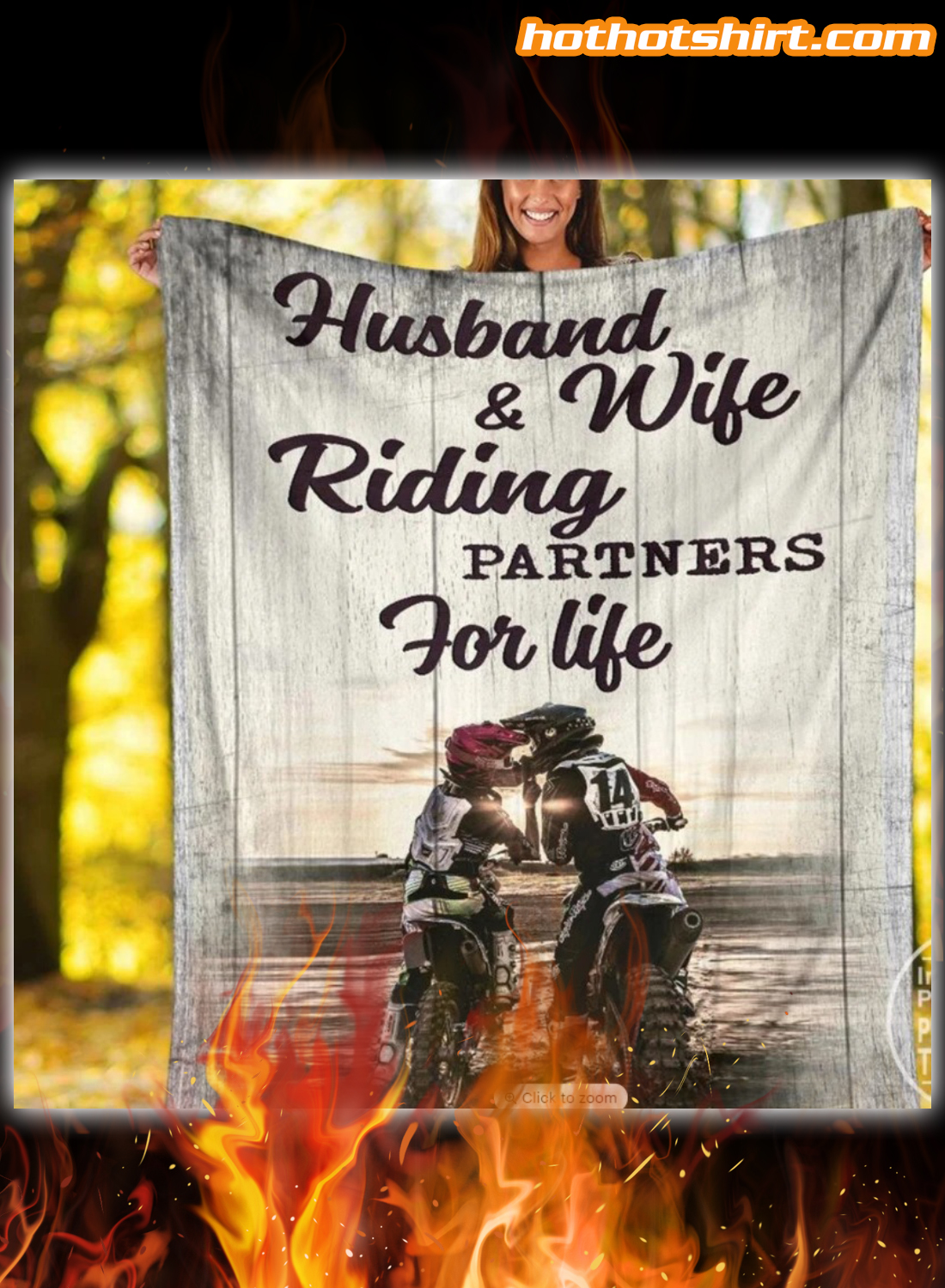 Motocross husband and wife riding partners for life blanket