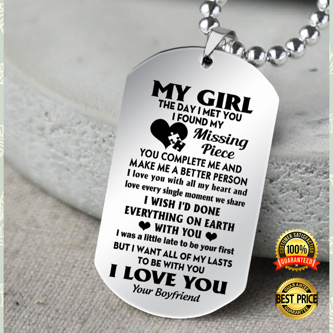 My Girl The Day I Met You I Found My Missing Piece Dog Tag 6