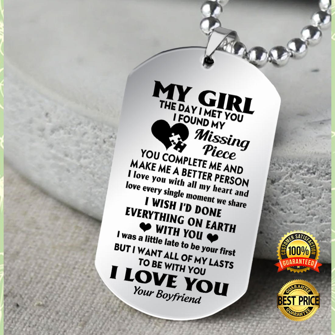 My Girl The Day I Met You I Found My Missing Piece Dog Tag 4