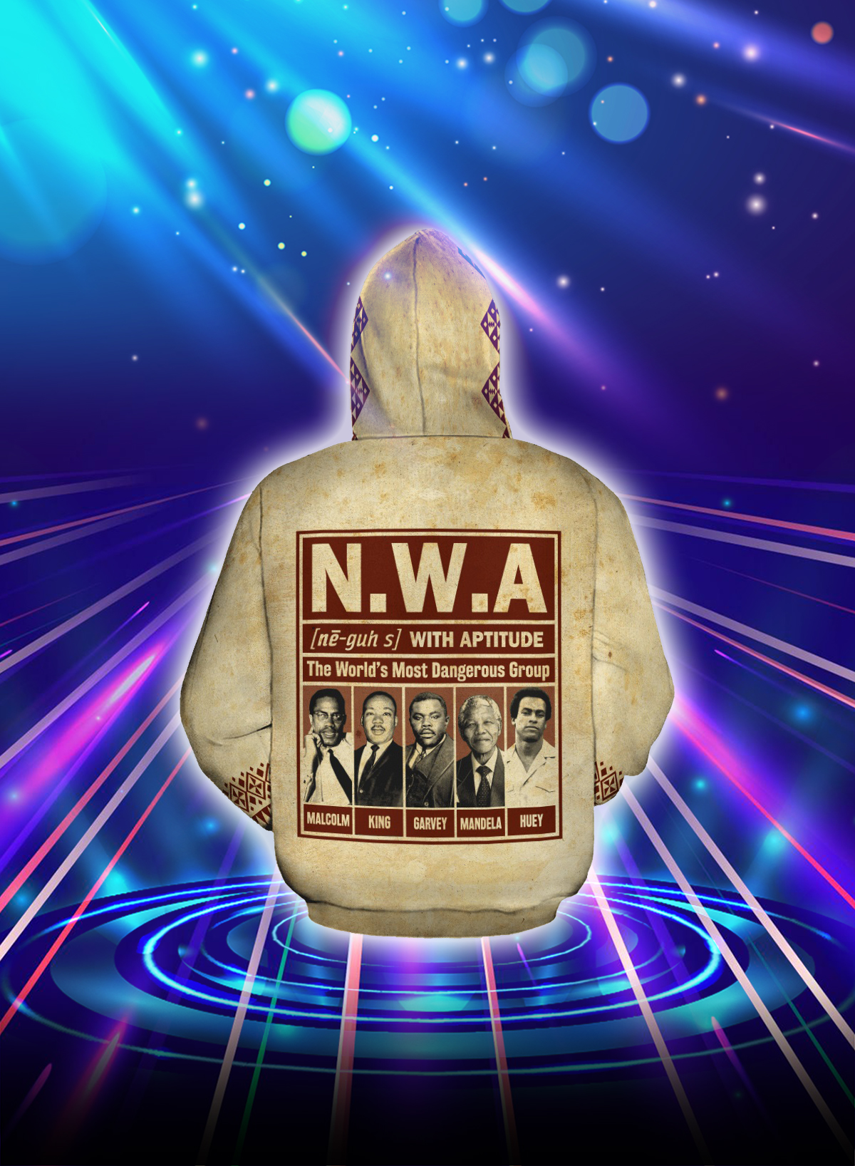 NWA the world's most dangerous group all over printed hoodie - Back