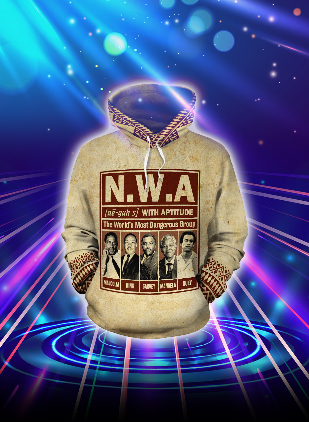 NWA the world's most dangerous group all over printed hoodie - Front