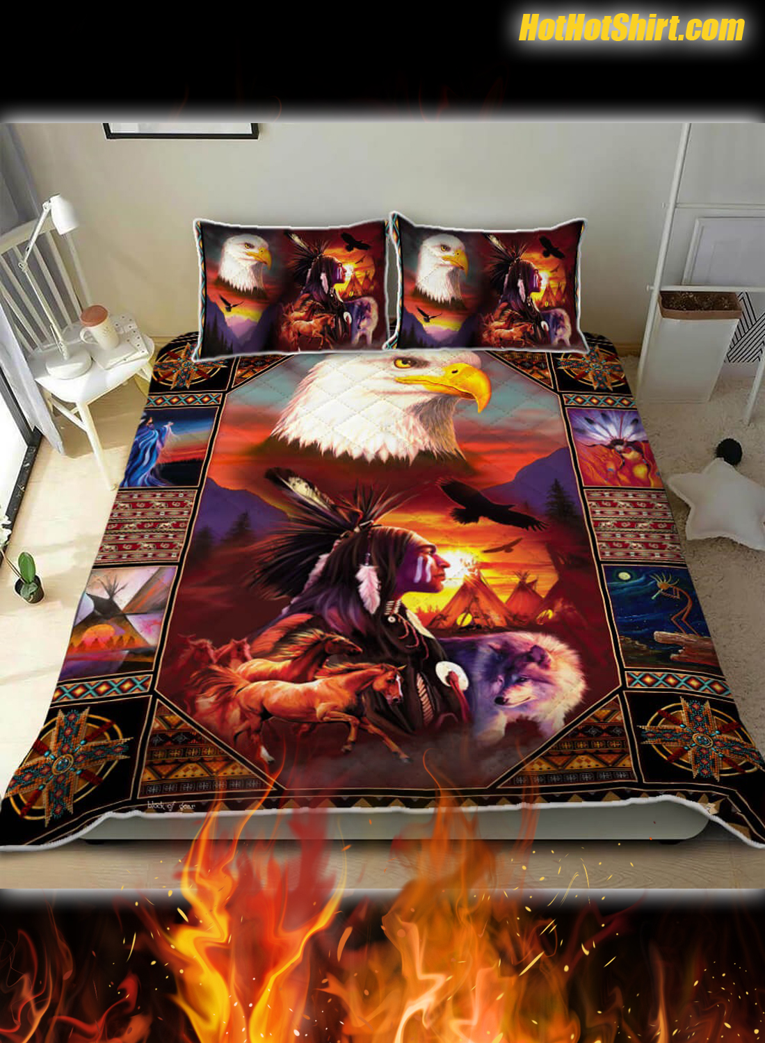 Native American Eagle 3D Bedding Set 1